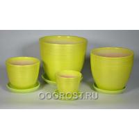 Комплект Бирюзовый(салатовый) перламутр из 4-х горшков 5л, 2,5л, 1л, 0,4л