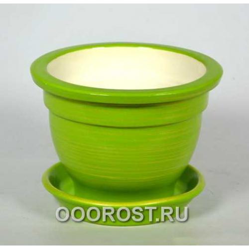 Горшок Фиалочница 0,5л (глянец салат-золото) d12см