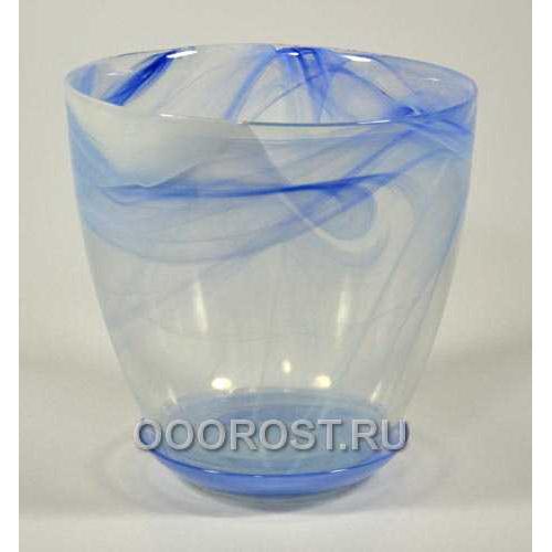 Горшок стеклянный №5 с поддоном Голубой