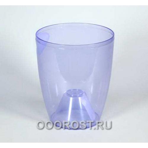 Кашпо Орхидея d15, h17 фиолетово-прозрачрачное