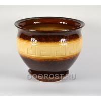 Горшок Меандр малый бежево-коричневый 30л, d40 см, h32 см