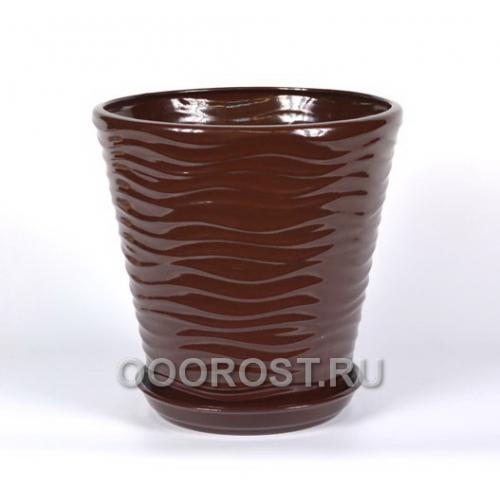 Горшок Новая волна 9л (глянец шоколад) d27,5см, h26,5см