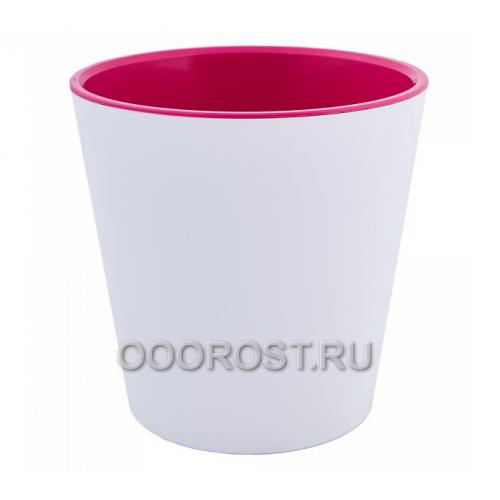 Кашпо Деко со вставкой d13см, h12,5см бело-розовое
