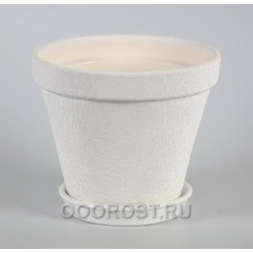 Горшок Конус 2,5л кожа Белый d19,5см, h15,5см