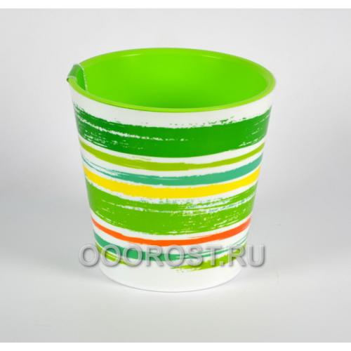 Кашпо Деко со вставкой d16см, h15.5см Краски зеленые