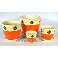 Комплект из 4-х горшков Подарочный коричневый   5л, 2,5л, 1л, 0,4л