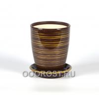 Горшок Орхидейница глянец шоколад-золото 1.3л, d13.3 см, h 16 см