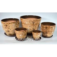 Комплект из 5 горшков Тюльпан-Витраж     8л, 5л, 2,5л, 1л, 0,4л