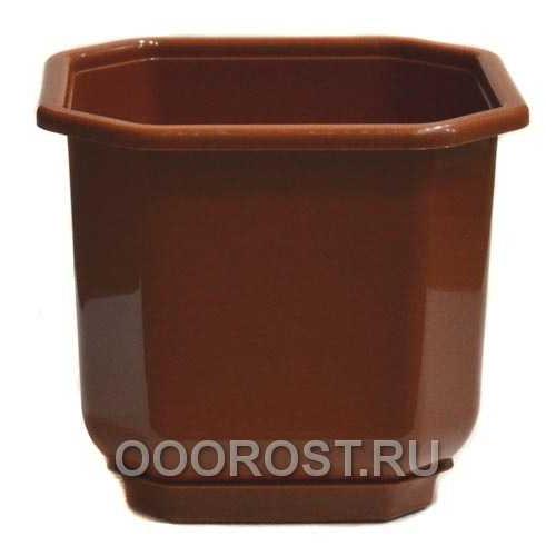 Горшок Дама 16 коричневый с поддоном