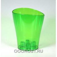 Кашпо Ника для орхидей пластиковое d16, h19 зеленый прозрачное