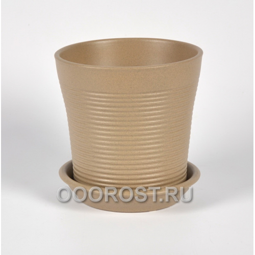Керамический горшок Вуаль резной крошка капучино 1 л, d14.5, h14 см