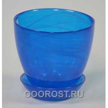 Горшок стеклянный №1 с поддоном крашеный Синий