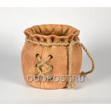 Кашпо Мешок большой с верёвкой шнуровка h22см, d29*25 см, 8л