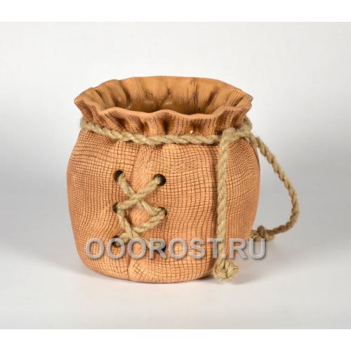 Кашпо Мешок большой с верёвкой (шнуровка) h22см, d29*25 см, 8л