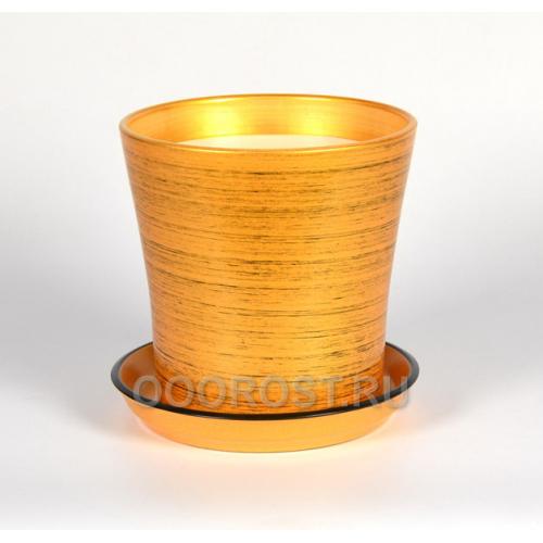 Горшок Вуаль 2,3л (глянец золото-черный) d18, h18см