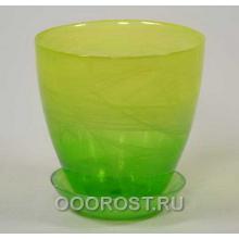 Горшок стеклянный №2 с поддоном крашеный Желто-зелен