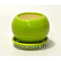 Горшок Шар №3  (глянец салат-золото)  0,4л  d11см