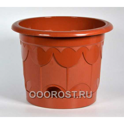 Горшок Тюльпан d13,5см коричневый с поддоном