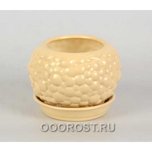 Горшок Шар №3 BUBBLE (крем-брюле)  0,4л  d11см