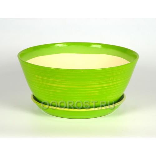 Горшок Бонсайница 5,5л глянец салатовый-золото d31см, h13см