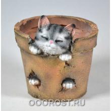 Кашпо Горшочек с котиком H15см, D13,5см