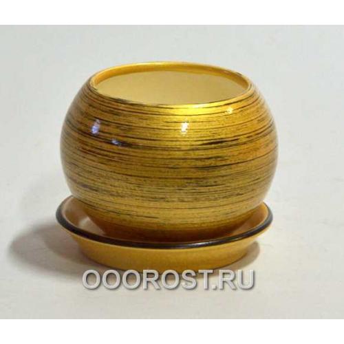Горшок Шар №3  (глянец золото-черный)   0,4л  d11см