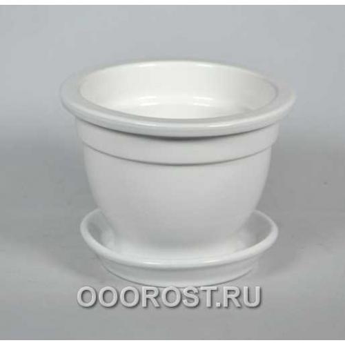 Горшок Фиалочница 0,5л (глянец белый) d12см