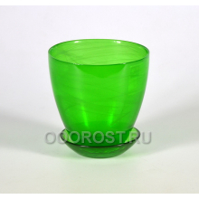 Стеклянный горшок №2 с поддоном крашеный Зеленый d13см, h12см