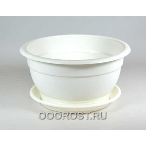 Горшок Флора d21см 2.1л белый с поддоном