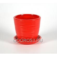 Горшок Грация-Волна №4 глянец красный 1л, d13,5см