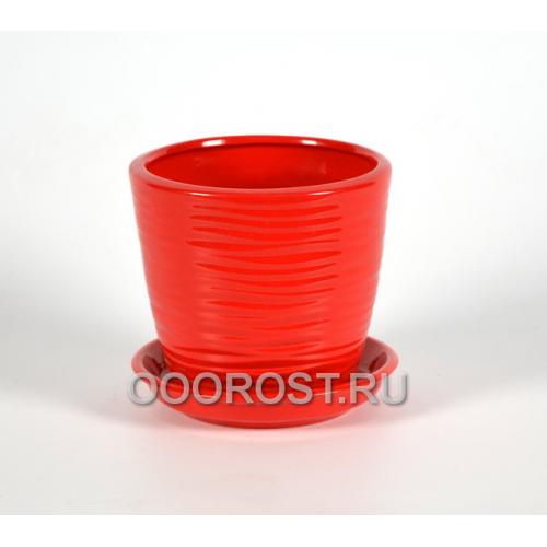 Горшок Грация-Волна №4 (глянец красный) 1л, d13,5см