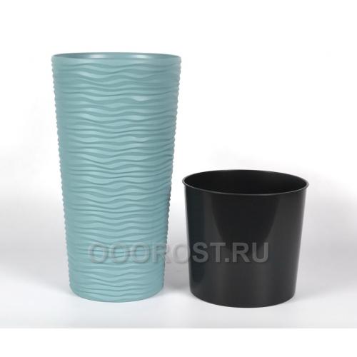 Кашпо Фьюжн со вставкой h 41 см сизо-голубой
