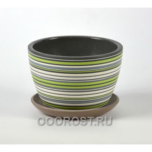 Горшок для цветов Вектор зеленый орех №4  d22см, 3,2л