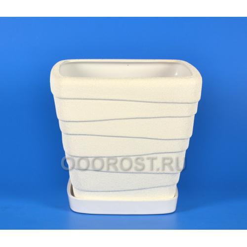 Керамический горшок Квадрат-Волна №1 шелк белый 15л, d32см, h27,5см