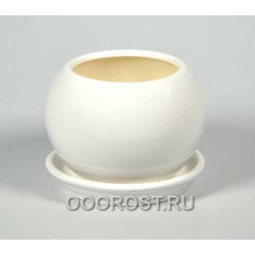 Горшок Шар №3  (глянец Белый)  0,4л  d11см
