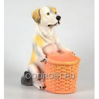 Фигура с кашпо Собака держит корзину H25см, D8см