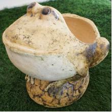 Фигура шамотная  Лягушка на камне  d 36см, h 37см