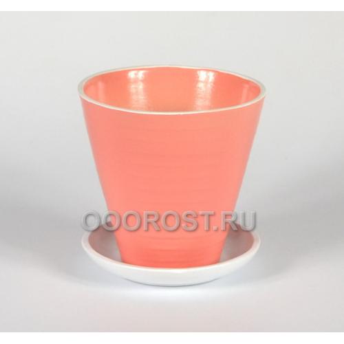 Керамический горшок Цветочный №3 розовый d13см, h 19см, v 0.7л
