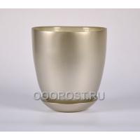 Стеклянный горшок №4 с поддоном крашеный Серебро d15.5см, h16.5см