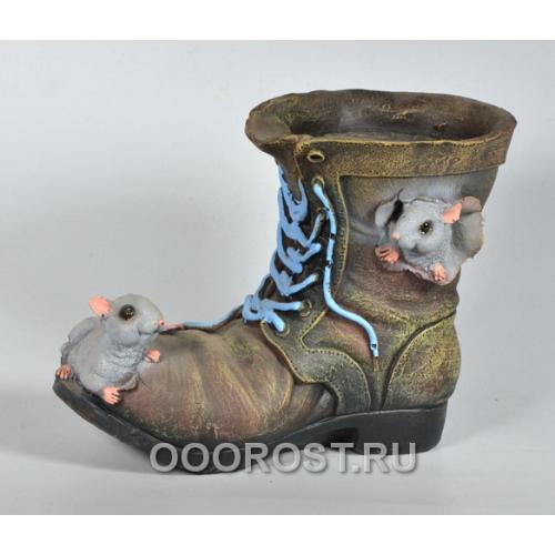 Кашпо Ботинок с двумя мышками h 20 см