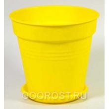 Горшок Глория с поддоном 14,5*14 темно-желтый