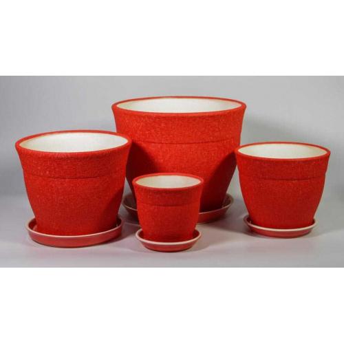 Комплект из 3-х горшков ФЛОРИС шелк красный