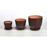 Комплект из 3 горшков Тюльпан-Шелк коричневый 2.5л, 1л, 0.4л