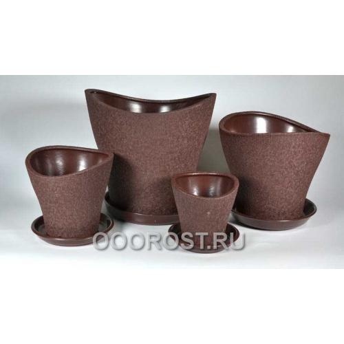 Комплект Волна из 4-х Шелк Шоколад d28, 23, 17, 13 см