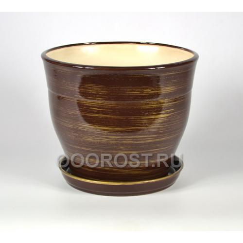 Горшок Флорис №2 (шоколадно-золото) 5,5л, d23см, h20см