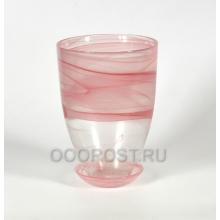 Горшок стеклянный Тюльпан Розовый с поддоном d16см, h23см