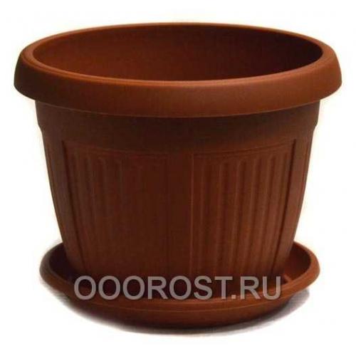 Горшок Николь d28 коричневый с поддоном