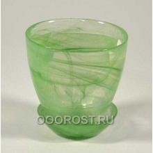 Горшок стеклянный №1 с поддоном Зеленый