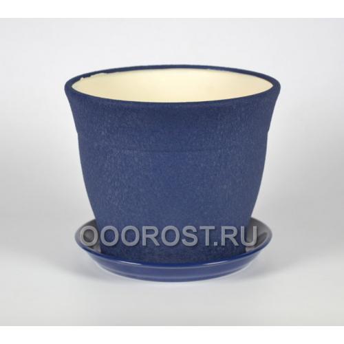 Горшок Флорис №3 шелк синий 3,5л, d19см, h19см