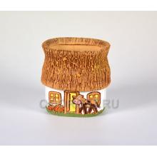 Керамическое кашпо Домик в деревне 1.5л с бычком h16см, d14*13см